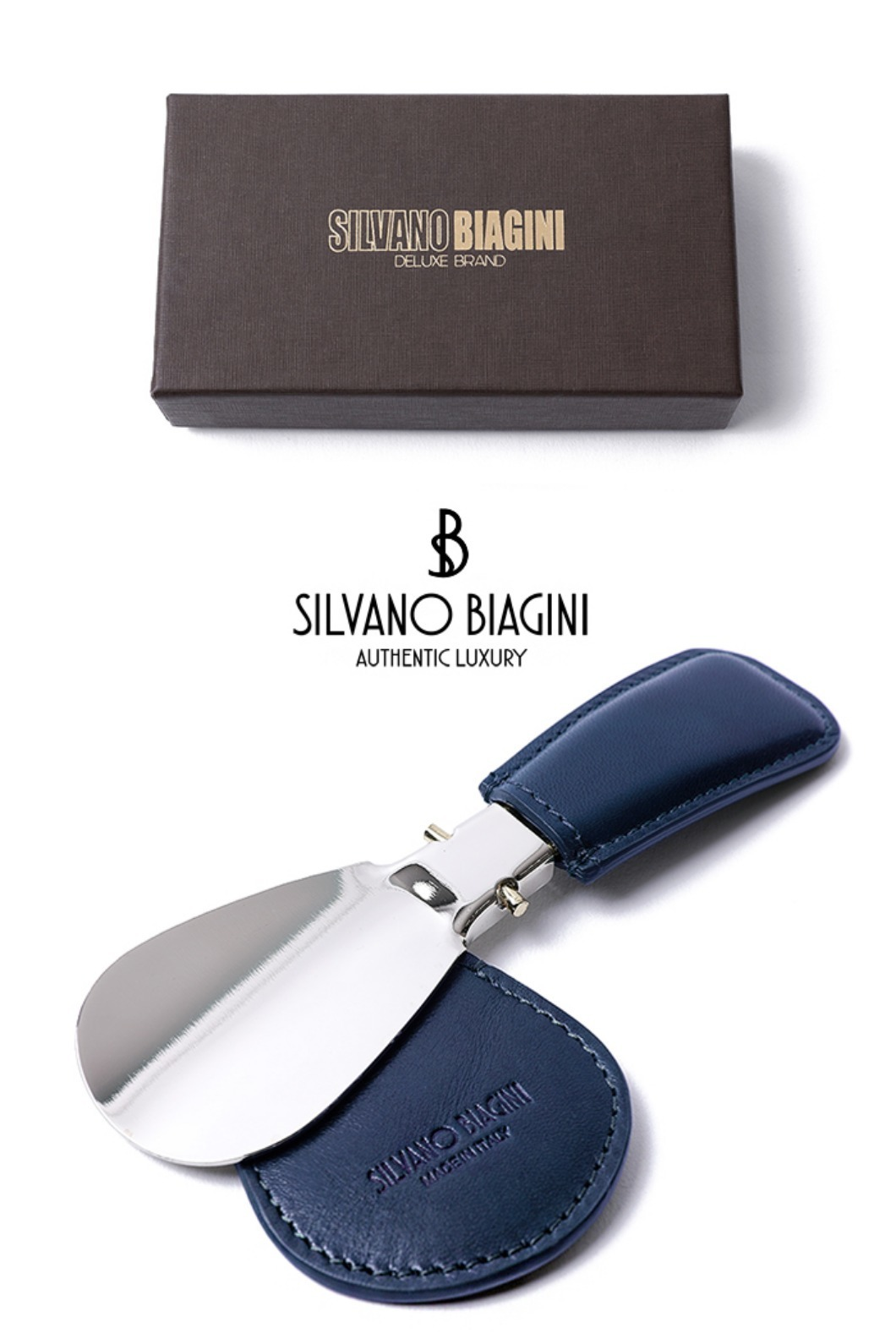 SILVANO BIAGINI SHOE HORN-NAVYSPECIAL ORDER-MADE IN ITALY