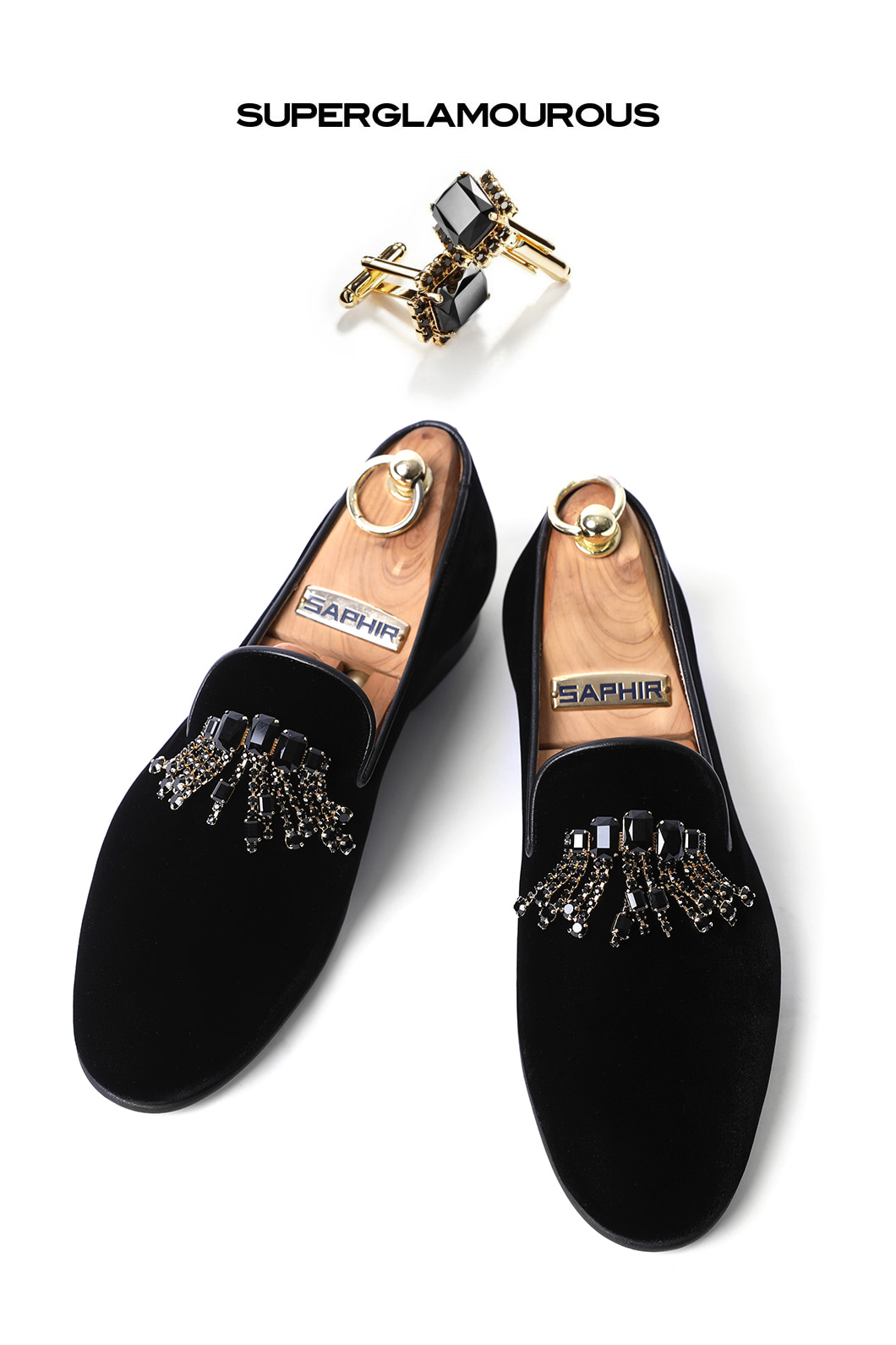 SUPERGLAM CRYSTAL BROOCH VELOUR SLIPPERS/BLACKMADE IN ITALY-한정수량-당일배송!