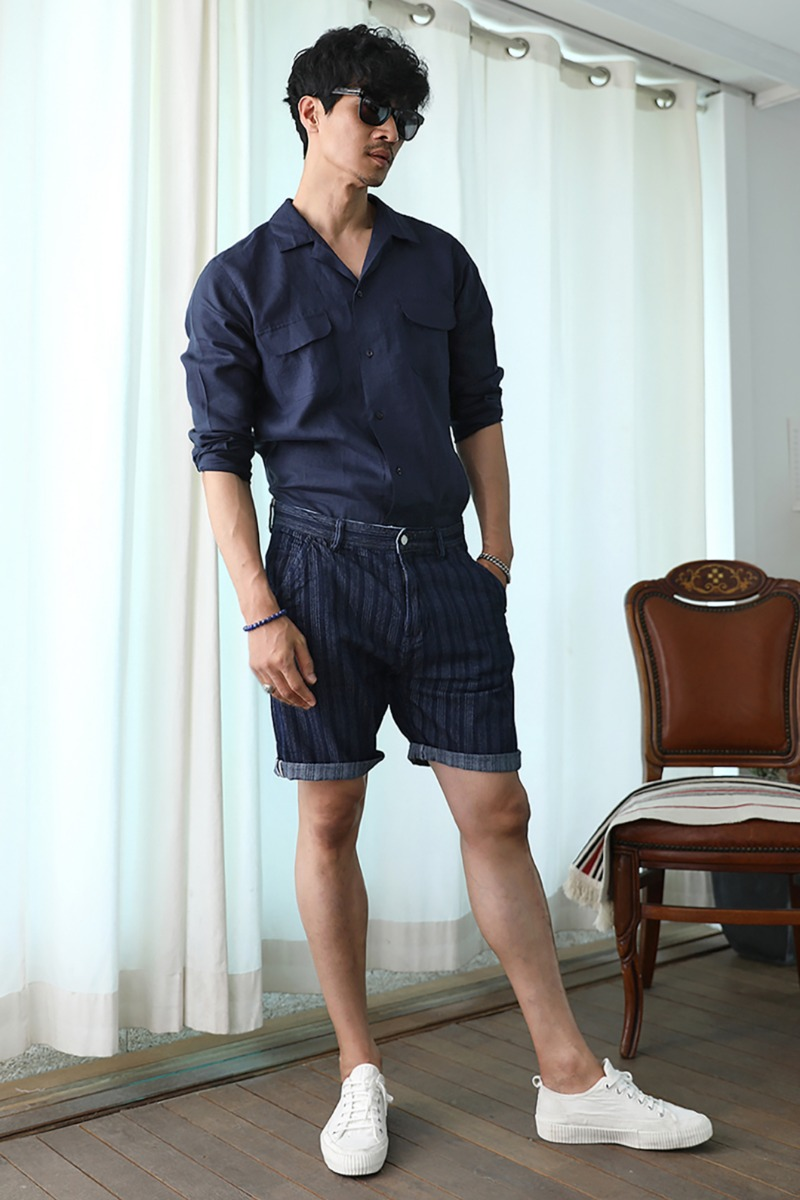 RONGIONE STRIPE HALF PANTS-NAVY수입한정제품