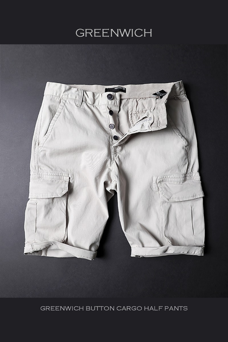 GREENWICH BUTTON CARGO HALF PANTS-BEIGE수입한정제품